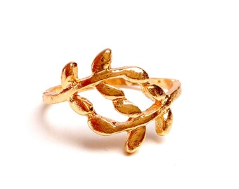 Olive leaf branch ring