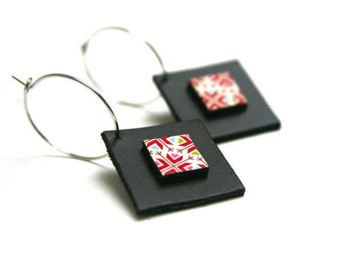 Genuine leather geometric square stacked rings graphic Japanese paper earrings