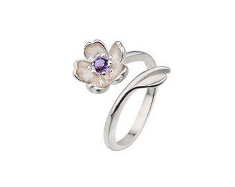Silver ring 925 amethyst zircon flower