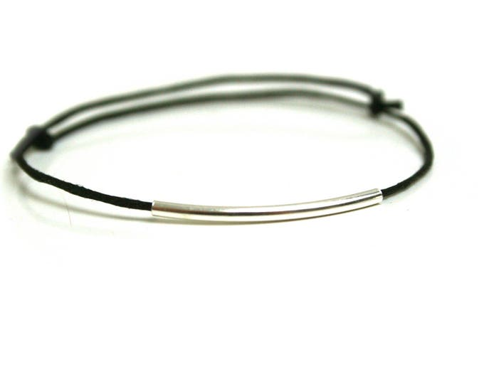 Black leather bracelet silver brass tube
