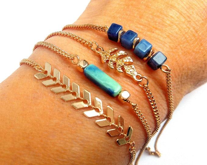 Set 4 fine tropical brass adjustable bracelets