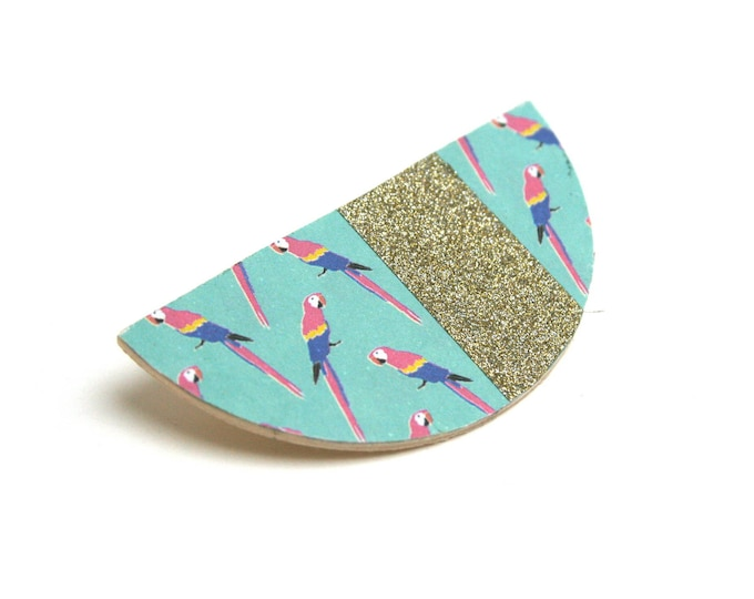 Brooch leather Scandinavian half-moon parrots urban minimalist jungle, masking tape, glitter gold, natural wood.
