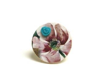 Bague réglable fleur vintage bois, cabochon porcelaine froide turquoise