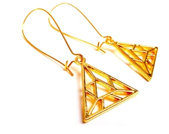 Triangle earrings origami brass