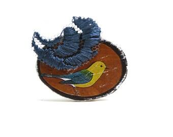 Bague bohème vintage en bois, illustration ancienne oiseau vintage, dentelle brodée, réglable métal cuivre