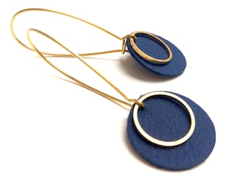 Navy blue leather pop earrings