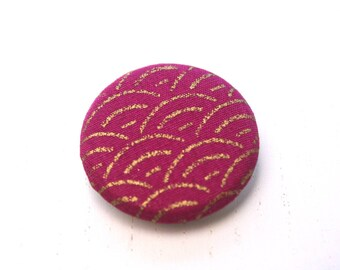 Japanese fabric brooch precious Golden sengaiha raspberry pink