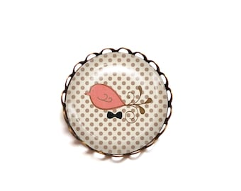 Cabochon brooch bird coral polka dots beige brown gift woman