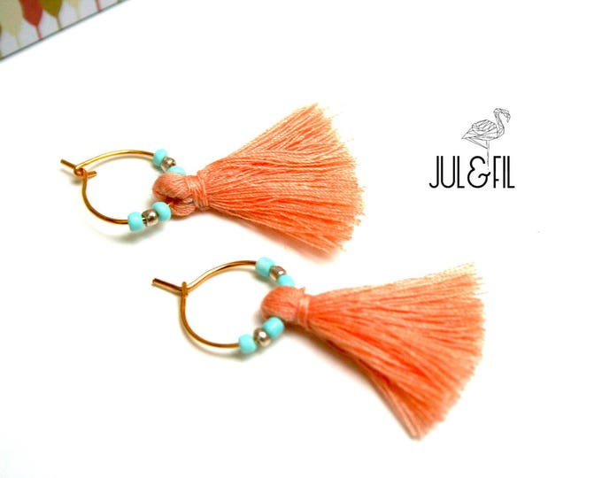 Gold plated earrings 24 Karat, powder pink tassels peach, light turquoise and gold beads