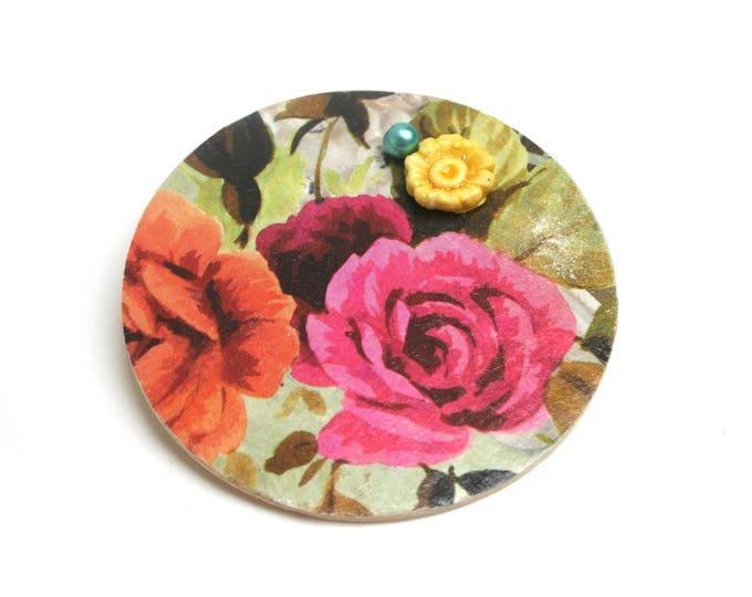 Large wooden brooch boho vintage flowers