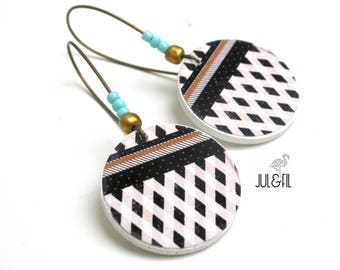 Boho white, sand, black, turquoise button earrings
