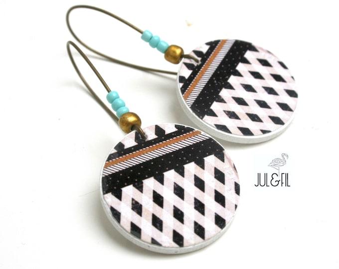 Boho white, sand, black, turquoise button earrings