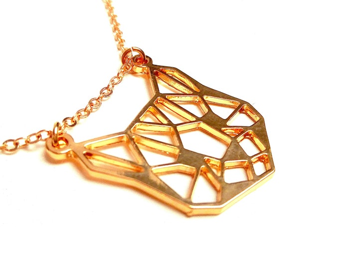 Gold-plated origami geometric necklace