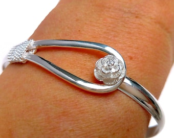 Rigid bracelet plated Silver 925 pink