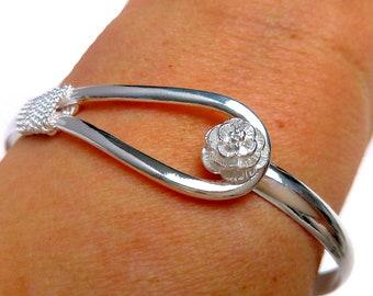 Rigid bracelet plated Silver 925 pink