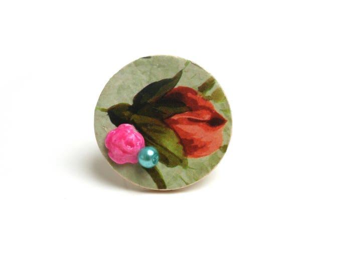 Bague réglable fleur vintage bois, cabochon porcelaine froide rose électrique