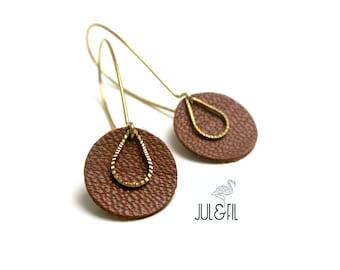Tan Leather earrings, drop ridged brass