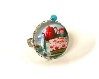 Ring cabochon Tea, cup cakes, flowers of Japan boho chic cabochon glass ring adjustable jewels POP