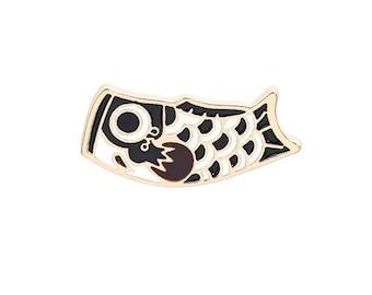 Japanese fish enamel brooch koïnobori lucky charm