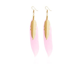 Pink feathers and brass earrings
