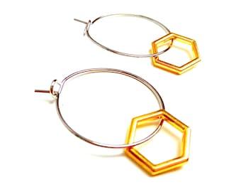 Minimalist brass rings hexagonal