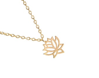 Golden Lotus Flower gold necklace