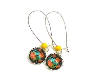 Boucles d'oreilles fleurs des îles cabochons verre grands crochets argent