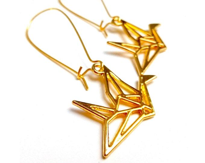Japanese brass origami crane rings