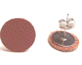 Pinkwood leather earrings