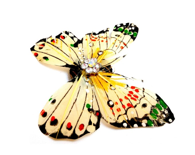 Butterfly feather rhinestones brooch
