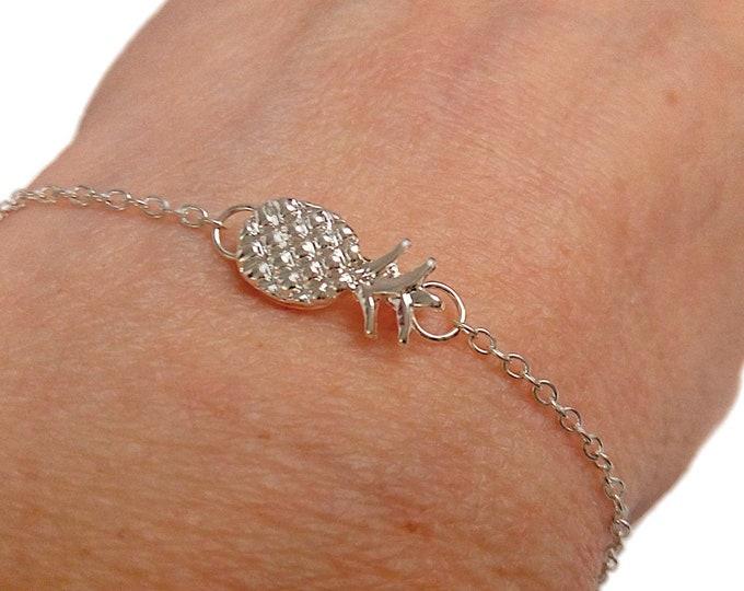 Bracelet fin ananas argenté