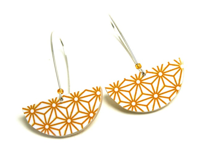 Earrings yellow curry asanoha geometric Japanese stars, half round brass and cotton