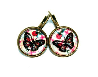 Sleeping cabochon butterfly ladybug antique bronze