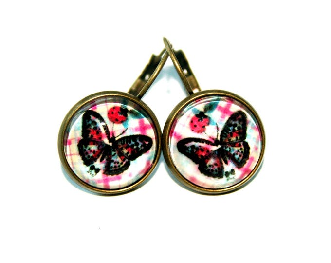 Butterfly Ladybug antique bronze glass cabochon Stud Earrings