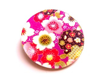 Japanese washi pattern leather brooch