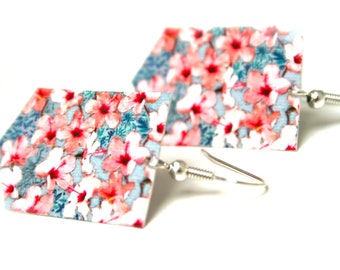 Stud Earrings the Japan geometric flowers, organic cotton canvas, fiber jewelry