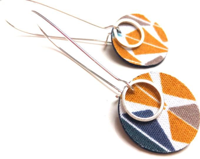 Art Deco geometry fabric earrings