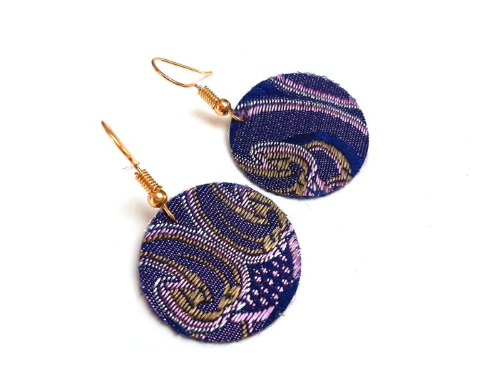 Earrings midnight blue embroidered fabric