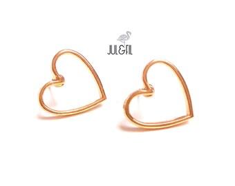 Minimalist gold heart studs