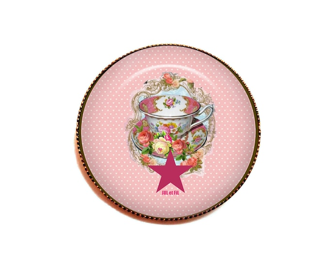 Brooch cabochon tea time