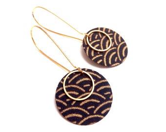Earrings Japanese silk black seigaiha gold fabric