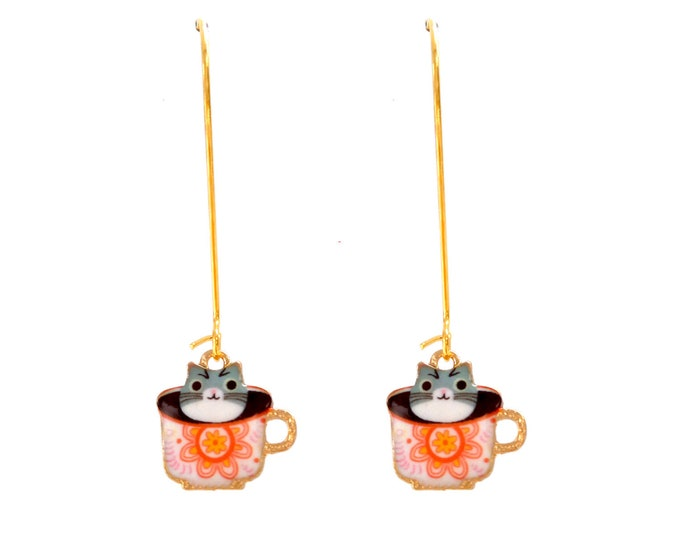 Cat enamel tea rings