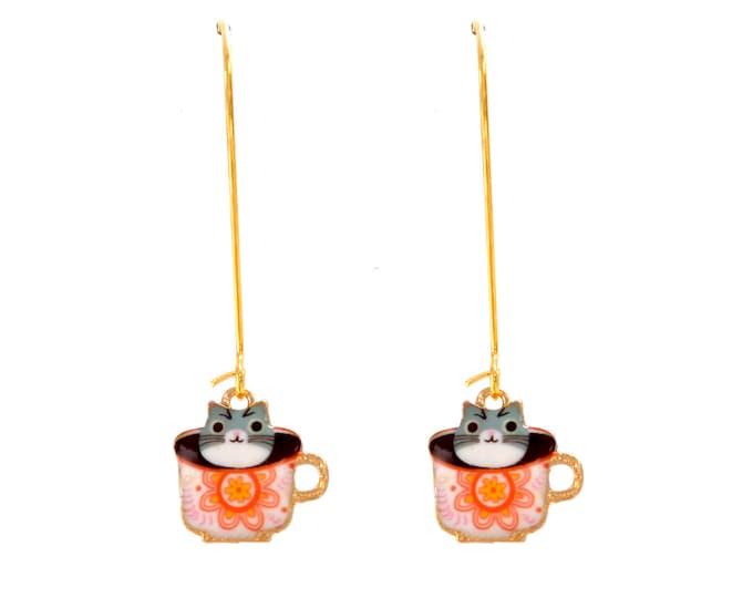 Cat enamel tea rings