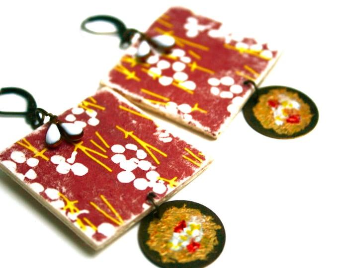 Boucles d'oreilles bois japonaises