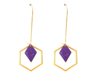 Earrings Art Deco Hexagon sequin enamelled rhombuses purple