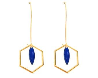 Earrings Art Deco Hexagon sequin enamelled drop blue Klein