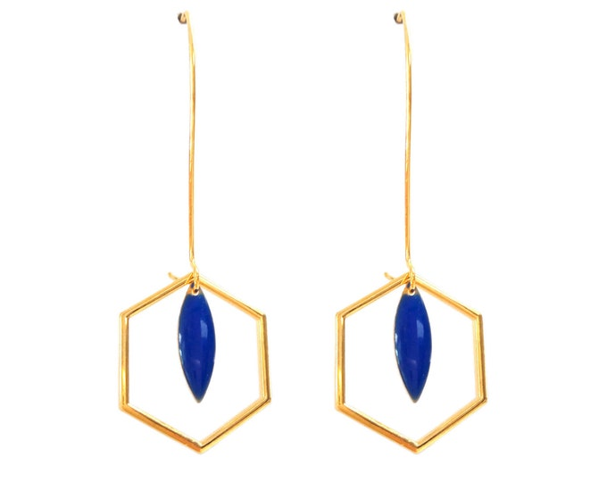Earrings Art Deco Hexagon sequin enamelled drop blue Klein