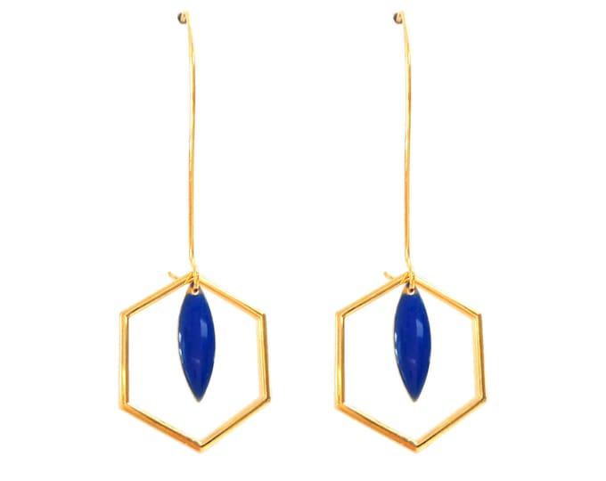 Art deco rings hexagonal sequin enamelled blue drop klein