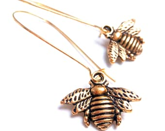 Brass bee earrings antique gold