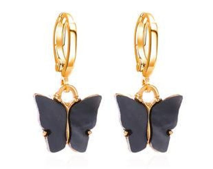 Hoops mini creoles black grey butterfly